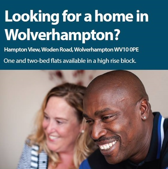 "Picture of a couple and the text ""Looking for a home in Wolverhampton?"""