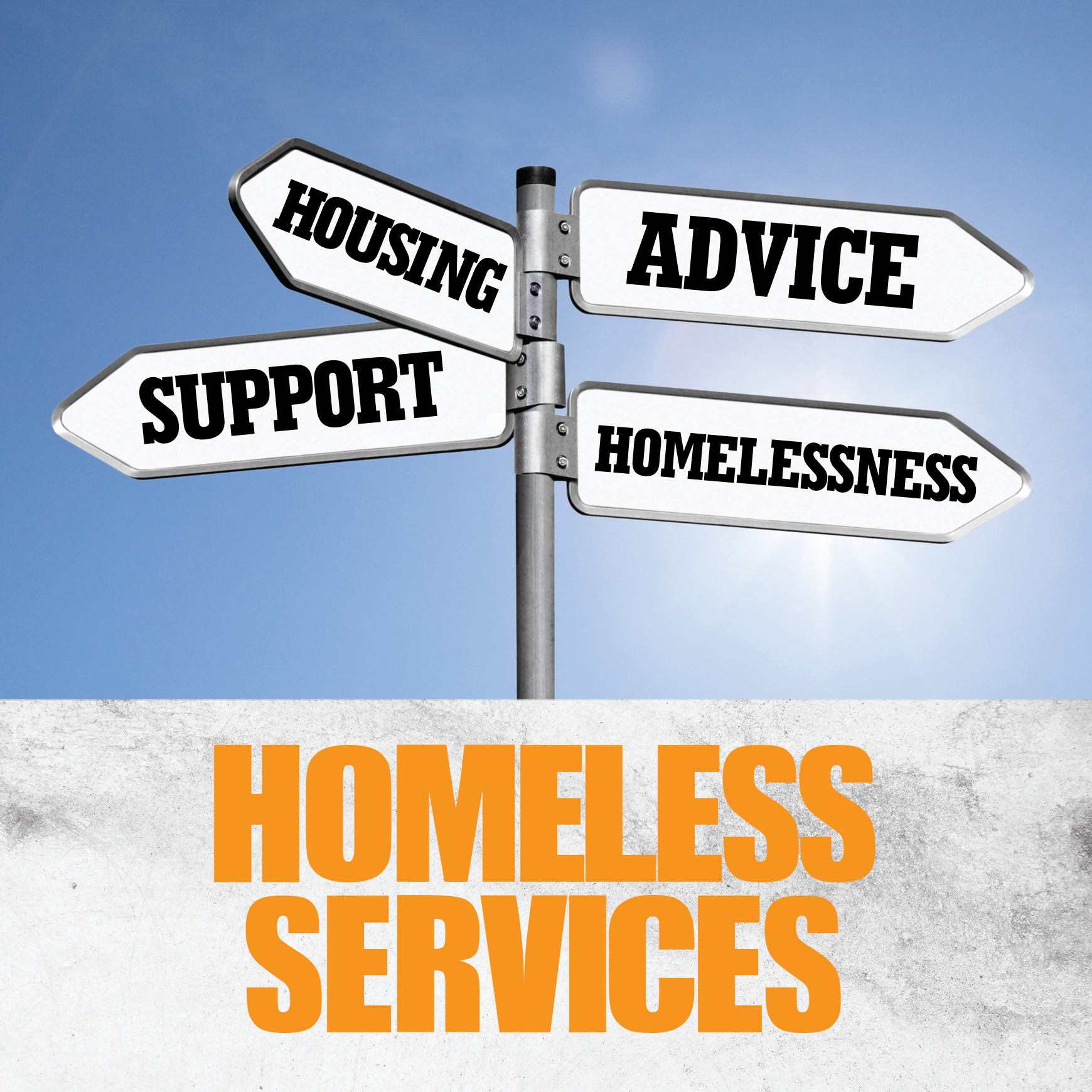 Image stating homeless service