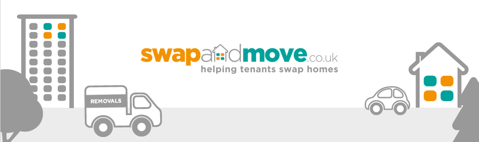 Picture shows Swap and Move logo and a removal van and car
