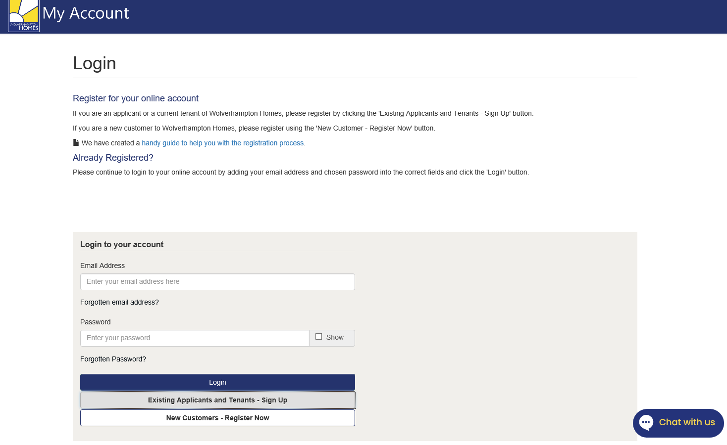 Screenshot of the login page