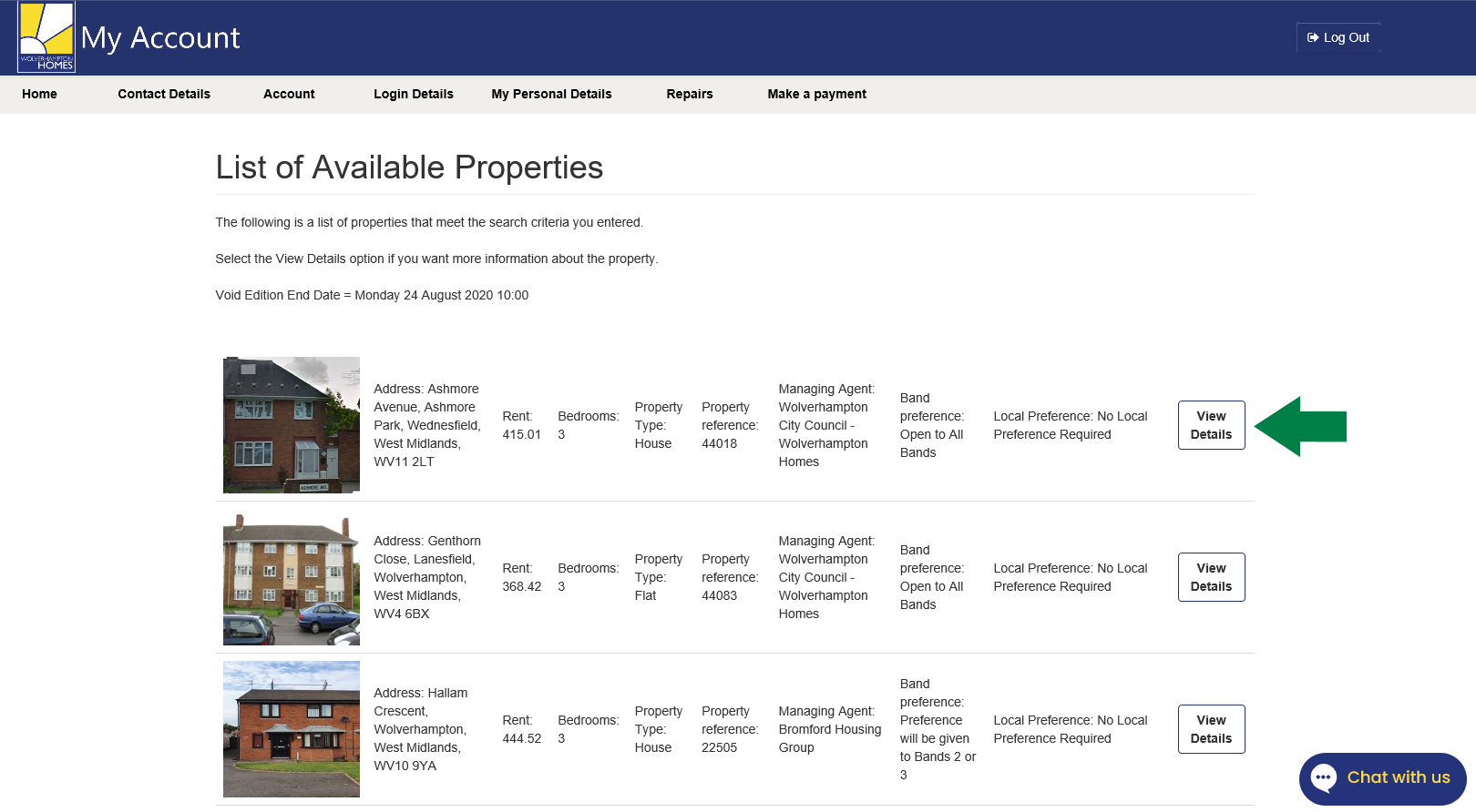 Screenshot of the property details page
