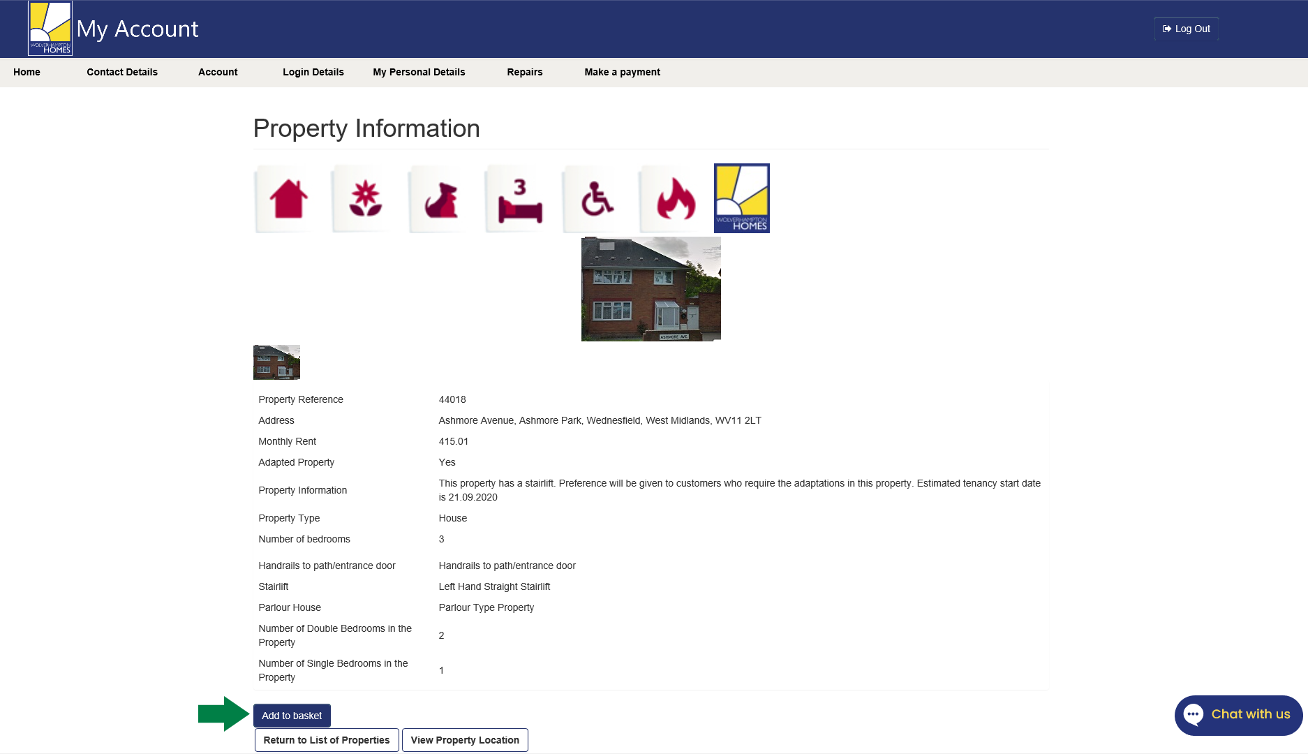 Screen shot of property information page